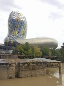 Iconic facade of Cité du Vin, the world famous, state of the art wine museum in Bordeaux