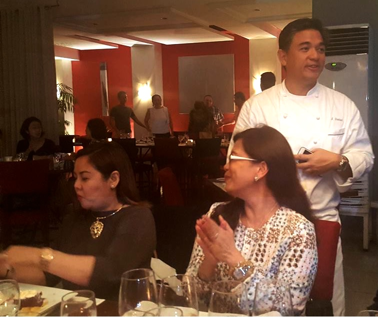 The effervescent Chef J. Gamboa talking about the evening's dishes