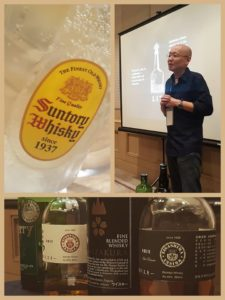 (clockwise from top left): Highball from Chotto Matte; Francis Hasegawa of Lit BGC; some of the delicious Japanese Whisky for the lecture