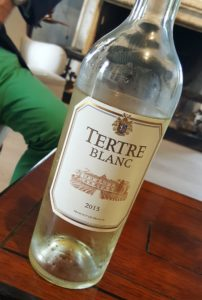 The crisp Tertre Blanc, perfect for chatting the afternoon away
