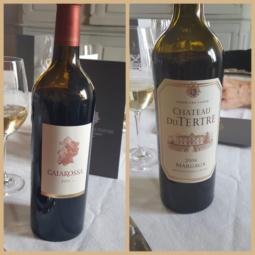 Caiarossa (from the estate's property in Tuscany), and a 2006 bottle of Château Dutertre