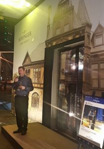 Mark Beringer at the entrance of M Café, welcoming us to the evening's festivities