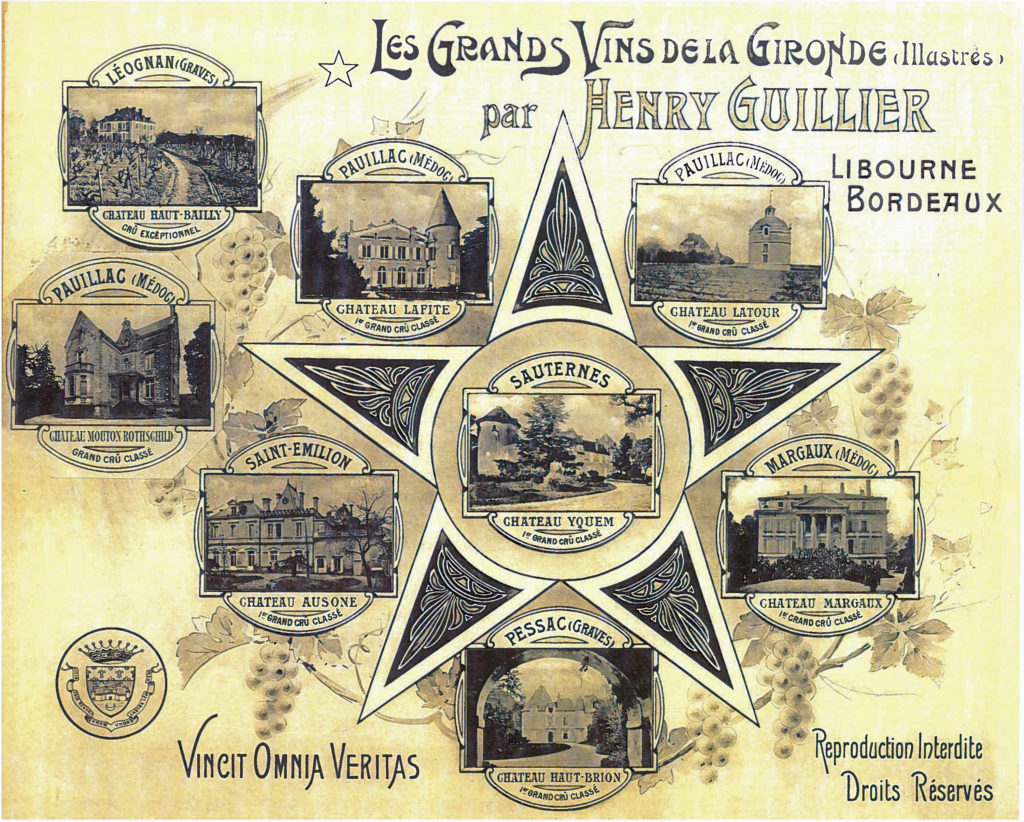 The esteemed wines of Bordeaux, with Château Haut-Bailly on the top left, signifying their level of quality amongst the wines of Graves, Bordeaux