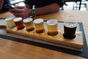 Paddle up! A paddle with six sampling shots of the brewery's beer
